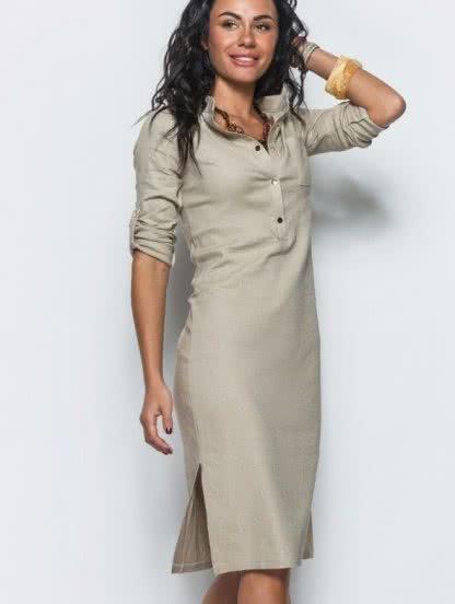 Льняное платье прямого силуэта с воротом стойкой и разрезами по бокам, фото 1