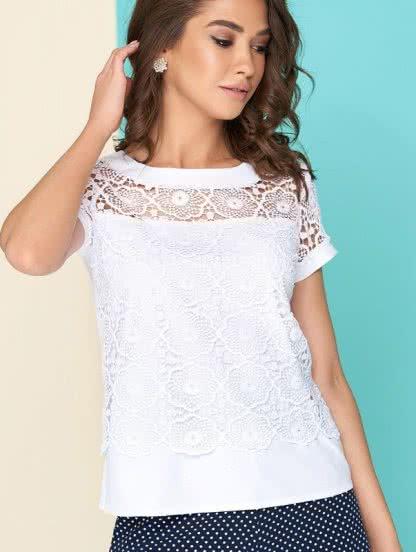 Белая двухслойная блуза с втачными рукавами