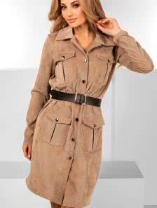 Бежевое платье пиджак из вельвета
