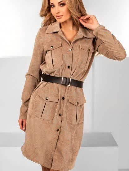Бежевое платье пиджак из вельвета, фото 1