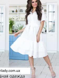 Белое легкое платье на пуговицах с юбкой сонце клеш