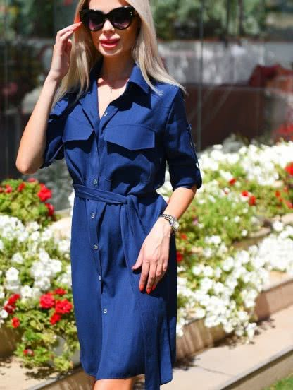 Льняное короткое платье рубашка на пуговицах и с поясом, фото 1