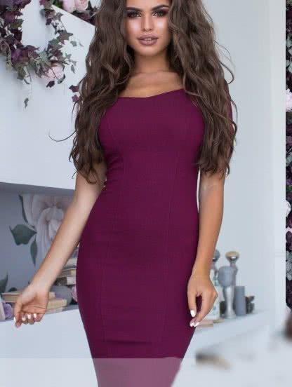 Бордовое короткое платье карандаш на короткий рукав с молнией на спинке, фото 1