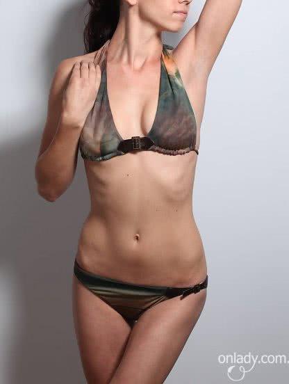 Раздельный итальянский купальник с кожаными застежками, фото 1
