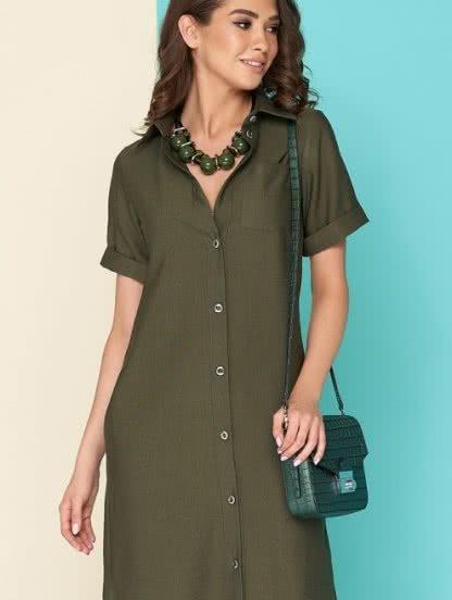 Платье-рубашка из льна в цвете хаки длины миди, фото 1