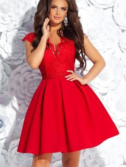 Короткое коктейльное кружевное платье на выпускной, фото 1