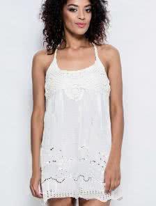 Летнее коттоновое платье молочного цвета на завязках