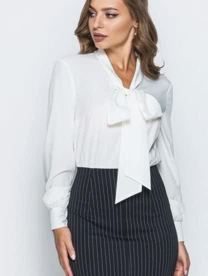 Офисное платье иммитация юбки с блузкой, фото 1