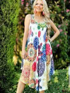Летнее платье-туника свободного кроя с натурального материала