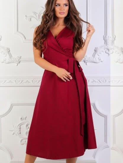 Бордовое платье с запахом без рукава, фото 1