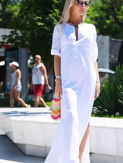 Длинное белое платье-рубашка из льна, фото 1