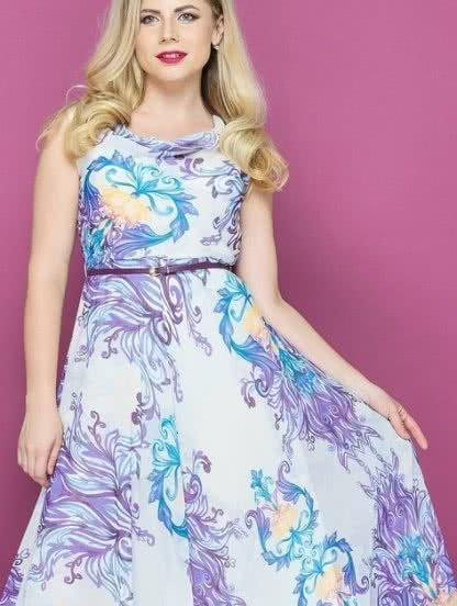 Длинное шифоновое платье с цветами, фото 1