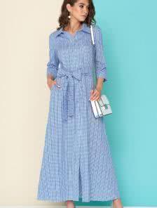 Легкое платье-рубашка в клеточку
