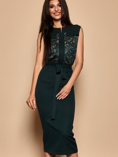 Зеленое красивое платье с кружевом, фото 1