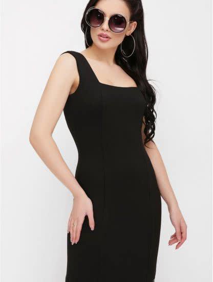 Вечернее черное платье без рукавов с квадратным вырезом, фото 1