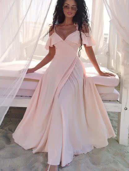 Светлое длинное платье на запах, фото 1