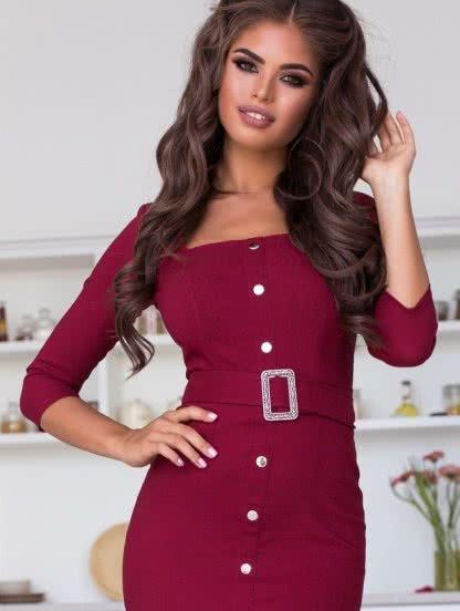 Утягивающее облегающее платье на кнопках с поясом, фото 1