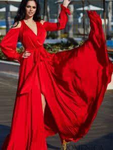 Длинное красное нарядное платье с натуральным шелком