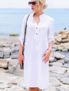 Белое льняное миди платье прямого силуэта