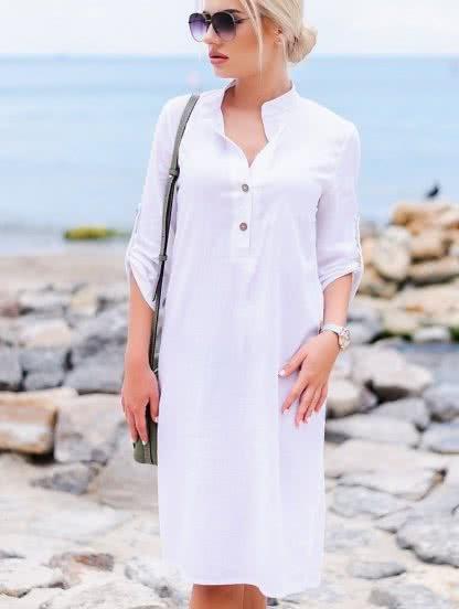 Белое льняное миди платье прямого силуэта, фото 1