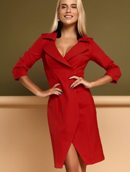 Красное платье-миди на запах с рукавом 3/4, фото 1