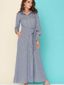 Легкое платье-рубашка в темно-синюю клеточку