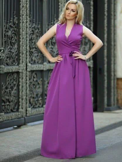 Фиолетовое длинное платье с запахом, фото 1