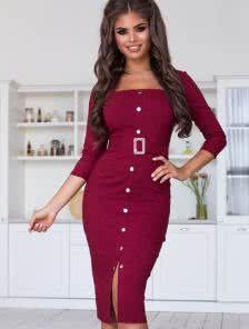 Бордовое ретро платье на пуговицах и с поясом