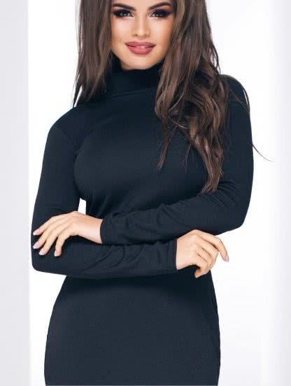 Черное трикотажное платье-гольф с длинным рукавом, фото 1