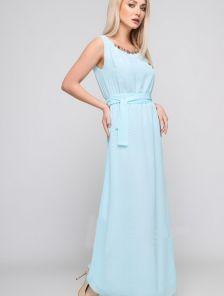 Вечернее шифоновое платье в пол мятного цвета