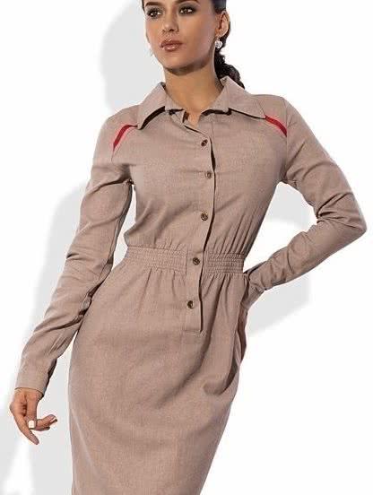 Летнее льняное платье-миди ,бежевого цвета с вышивкой, фото 1