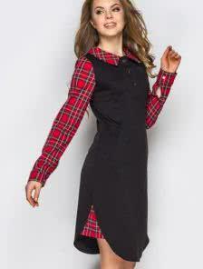 Элегантное платье с карманами и отложным воротником