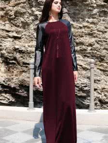 Длинное платье бордового цвета