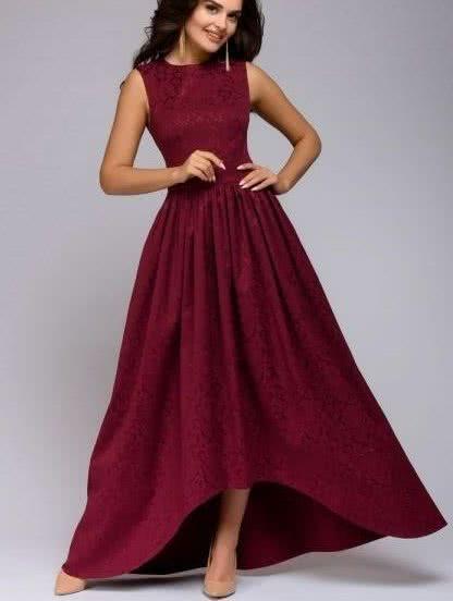 Длинное вечернее платье винного цвета с юбкой асимметричной длины, фото 1