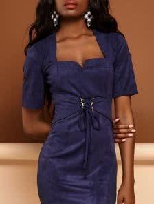 Замшевое повседневное платье футляр с рукавом