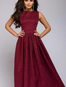 Длинное вечернее платье винного цвета с юбкой асимметричной длины