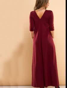 Бордовое длинное платье с руковом и открытой спиной