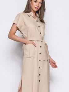 Льняное платье-рубашка для лета