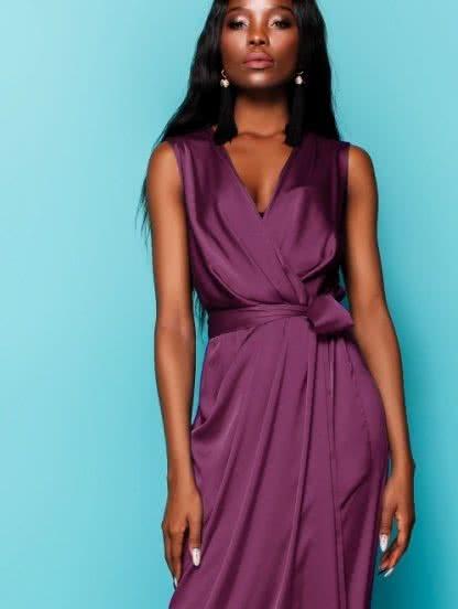 Шелковое платье на запах длинны миди, фото 1