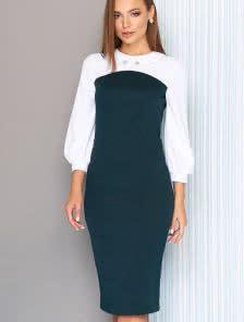 Платье бюстье с имитацией белой блузы под платьем