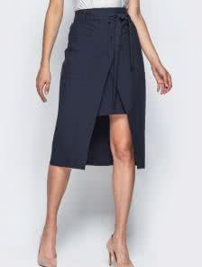 Двухслойная юбка с накладными карманами и завязками на поясе