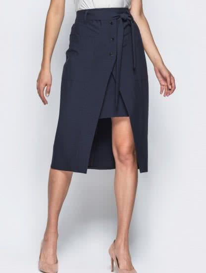 Двухслойная юбка с накладными карманами и завязками на поясе, фото 1