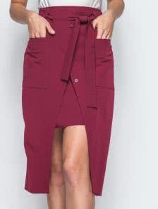 Двухслойная юбка с большими накладными карманами