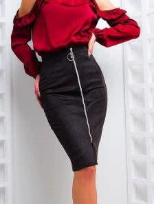 Классическая юбка-карандаш с молнией черного цвета