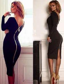 Черное платье-футляр с молнией сзади на длинный рукав