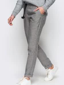 Теплые шерстяные зауженные брюки на зиму
