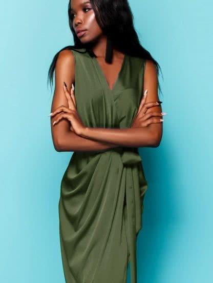 Шелковое платье с имитацией запаха цвета хаки, фото 1