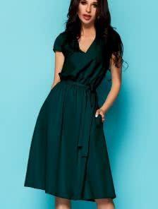 Темно зеленое офисное платье закрывающее колена