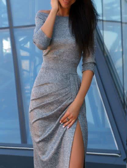 Серое платье из мерцающей ткани с приспущеными плечами, фото 1