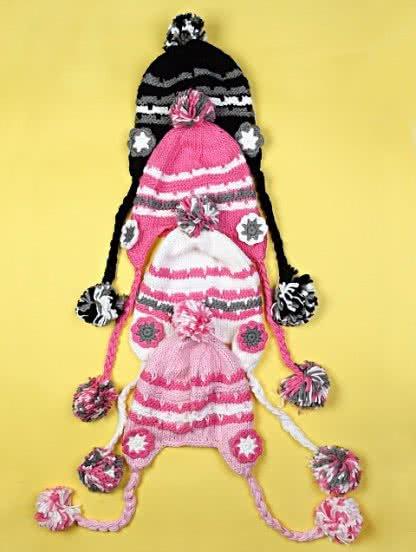 Вязаная шапка с помпонами для девочки, фото 1